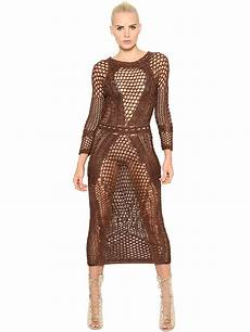 balmain stretch cotton knit dress in brown lyst