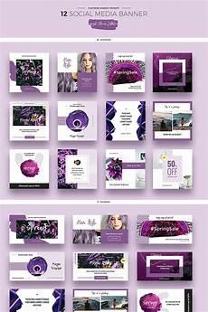 social media design templates purple flowers social media designs psd template 66946