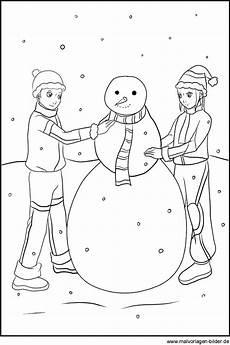 Ausmalbild Schneemann Bauen Schneemann Bauen Winter Malvorlagen Zum Ausmalen