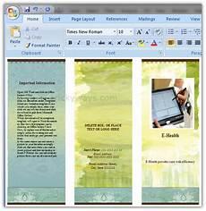 How To Create A Brochure In Word Create Brochure In Word 2007 Or 2010 Make Brochure