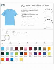 Port Company Color Chart Port Amp Company 50 50 Cotton Poly T Shirts Pc55t