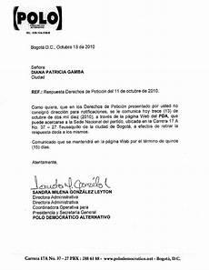 Ejemplos De Cartas De Peticion Respuesta A Derecho De Petici 243 N Diana Gamboa