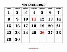 November 2020 Calendar Printable November 2020 Printable Calendar Free Download Monthly