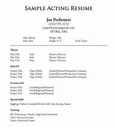 Actor Resume Example Free 20 Useful Sample Acting Resume Templates In Pdf Ms