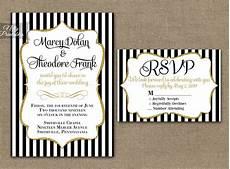 Wedding Invitations Black And White Black Amp White Striped Gold Wedding Invitations Nifty