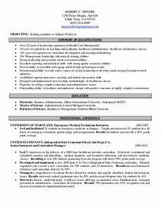 Online Instructor Resume Adjunct Professor Resume Mt Home Arts