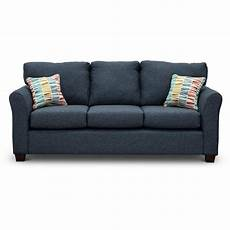 casual contemporary navy blue sofa wall st rc willey