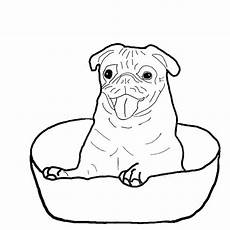 pug is happy inside a bowl coloring page color