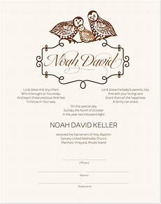 Christening Certificate Baptism Certificate Owl Family Baby Certificate