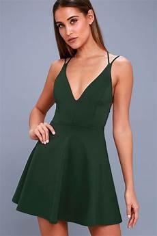 forest green dress backless dress skater dress
