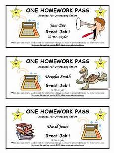 Homework Pass Template Word Customizable Homework Pass For Students Free By Fourth