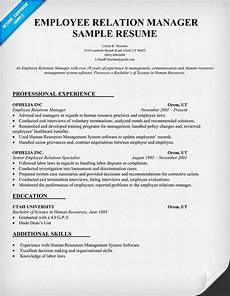 Employee Relations Manager Resume Samples Employee Relation Manager Resume Sample Resumecompanion