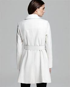 dkny coats for dickie dkny coat breasted trench with pleather in white lyst
