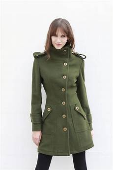 fitted winter coats for scissors army green fitted coat jacket winter by