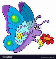 Malvorlagen Schmetterling Lustig Butterfly Holding Flower Vector Image On