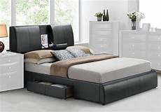 kofi modern storage tray headboard bed side drawer