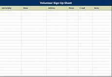 Sign Up Chart Volunteer Sign Up Sheet Volunteer Sign Up Sheet Template