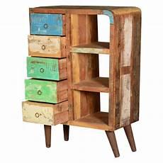 rainbow rustic reclaimed wood open shelf cabinet w 5 drawers