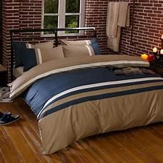 100 cotton bule coffee stripe bedding set king