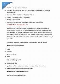 Cv Template For Work Experience Preparing A Curriculum Vitae