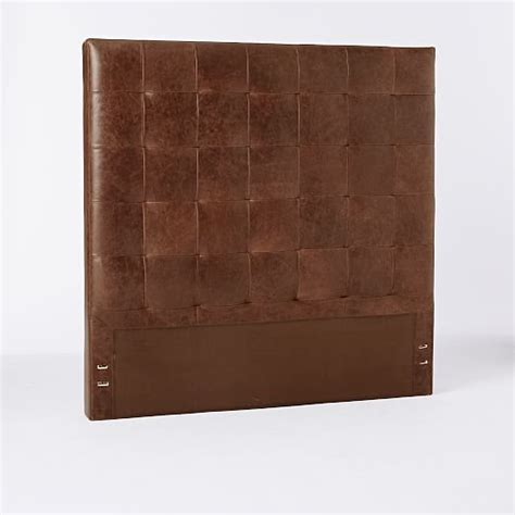 distressed leather headboard tall leather grid tufted headboard west elm