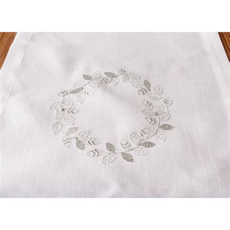 white and silver table runner embroidered white and silver table runner leaf