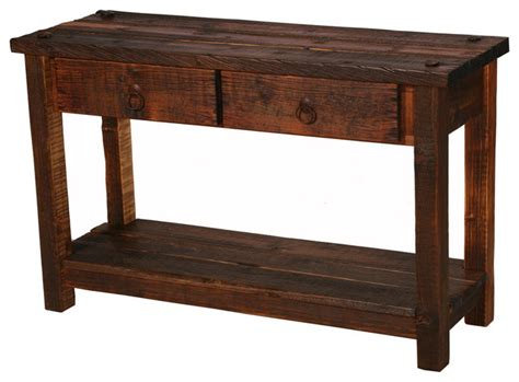 Rustic Console Table Rustic Heritage 2 Drawer Sofa Table Rustic Console Tables By Blue Ridge Log Works