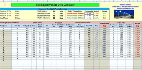 electric motor pole calculation calculate voltage drop and no s of light pole