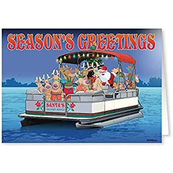 nautical directions on a boat santa s pontoon boat christmas card 18 cards