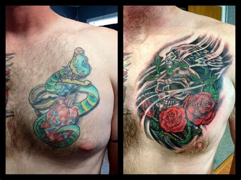 tattoo cover up before and after cover up before and after skull and roses cover