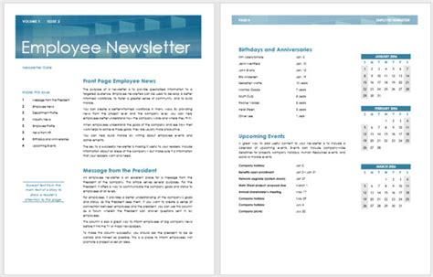13 Free Newsletter Templates You Can Print Or Email As Pdf Staff Newsletter Templates Free