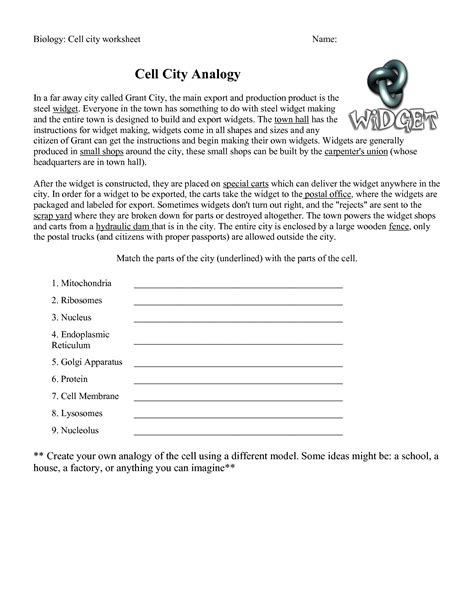 Cell City Worksheet by 39 Pictures Cell Analogy Worksheet Dropwin Cells