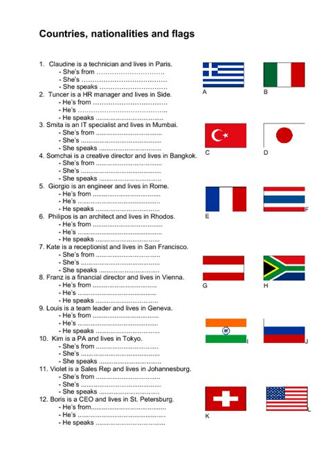 Countries, Nationalities, Flags