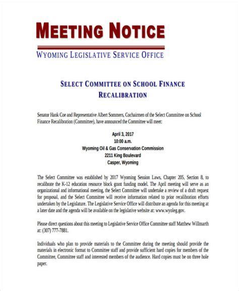 notice of meeting template 8 notice exles sles
