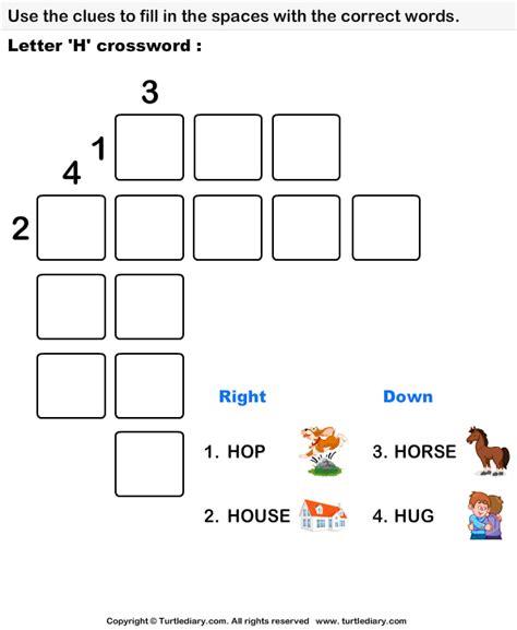 easy crossword puzzles for kindergarten letter h crossword worksheet turtle diary