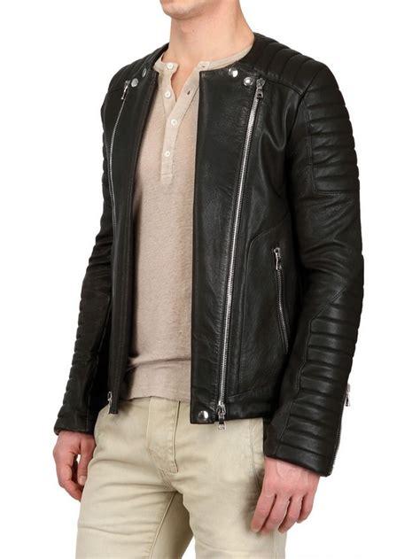 Balmainleather Biker Jacket balmain nappa leather biker jacket in black for lyst