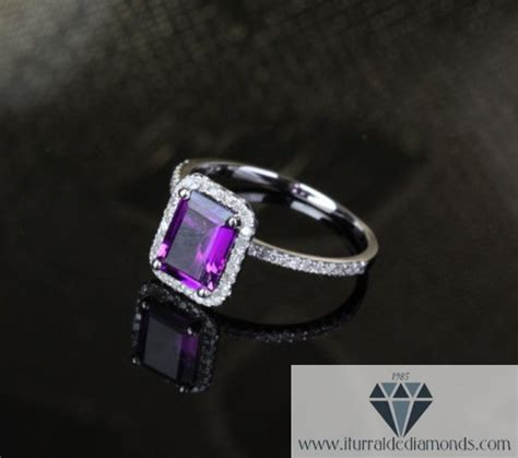 emerald cut amethyst pave halo engagement ring