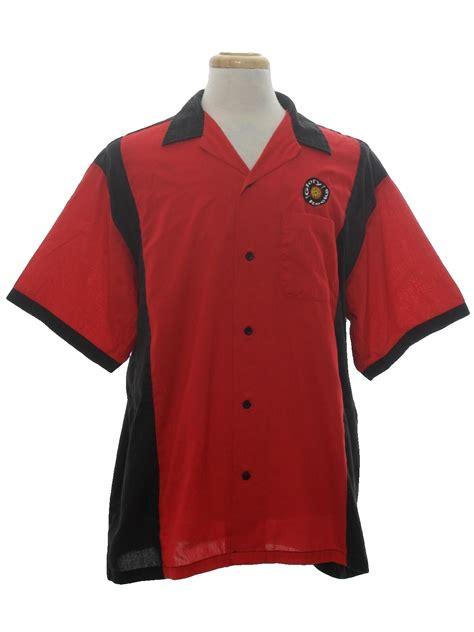 pattern bowling shirt 90s bowling shirt hilton 90s hilton mens black and