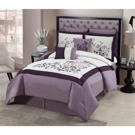 classy comforter sets beautiful elegant lavender embroidered floral 8 pc