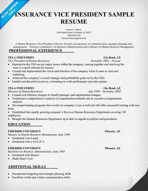 Resume Vice President It Insurance Vice President Resume Sle Insurance