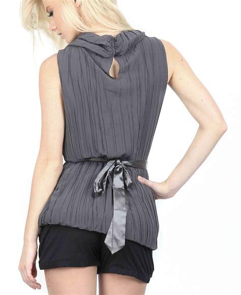 Misa Top Grey Mo stitch blouse top gray
