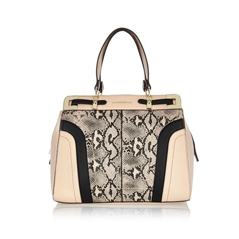 Coach Ergo Printed Python Large Tote by River Island Light Pink Snake Print Structured Tote Bag In