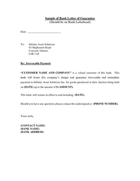 Letter Of Guarantee Bank Loan best photos of sle letter from a bank bank reference