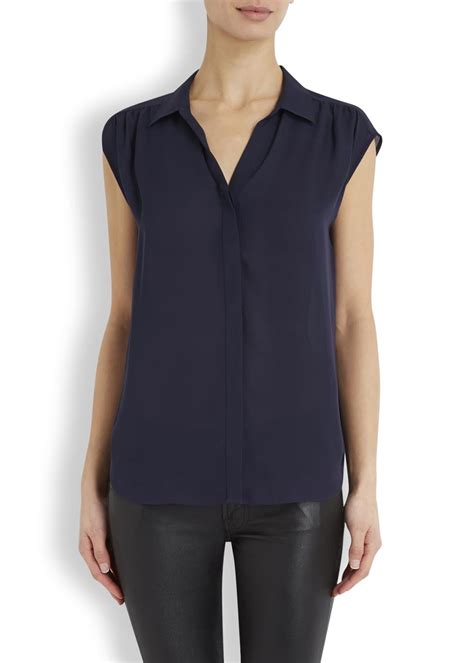 Navy Blue Silk Blouse by Joie Navy Silk Blouse In Blue Lyst