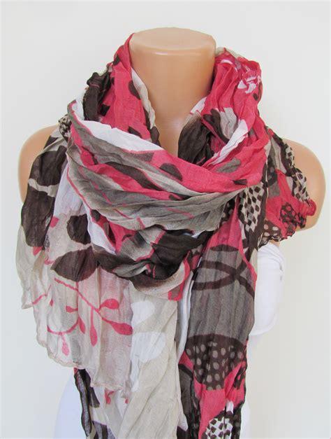 brown pattern scarf pink brown and cream floral polka dot pattern scarf spring
