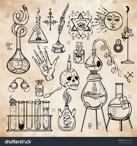 Alchemy How To Make Paper - set of trendy vector alchemy symbols collection on aged