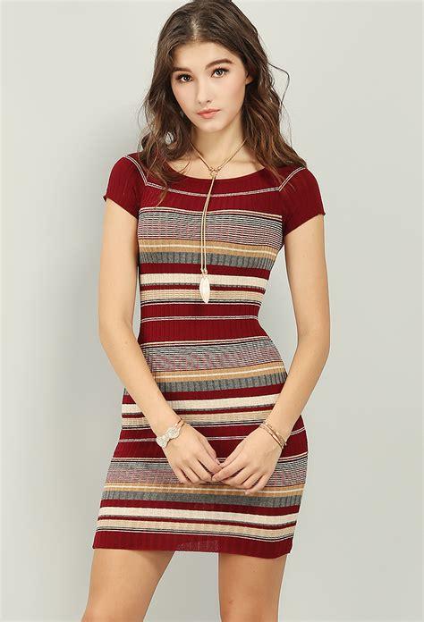 Stripe Bodycon Dress Only Size L multi stripe ribbed bodycon dress shop clothing at papaya clothing