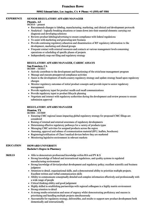 regulatory resume sle cv templates regulatory affairs manager resume sles velvet