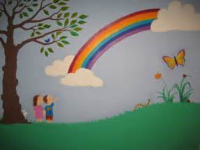 Painted Wall Murals For Kids Crafty Little People Our Beautiful Rainbow Wall Mural