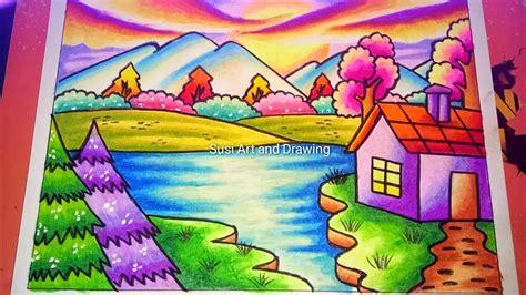 menggambar pemandangan alam  mudah  crayon